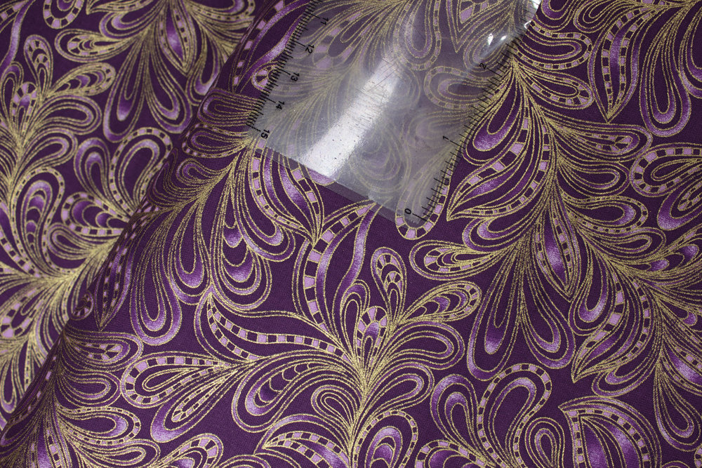 CAT-I-TUDE CHRISTMAS: Featherly Paisley in Purple - by Ann Lauer for Benartex