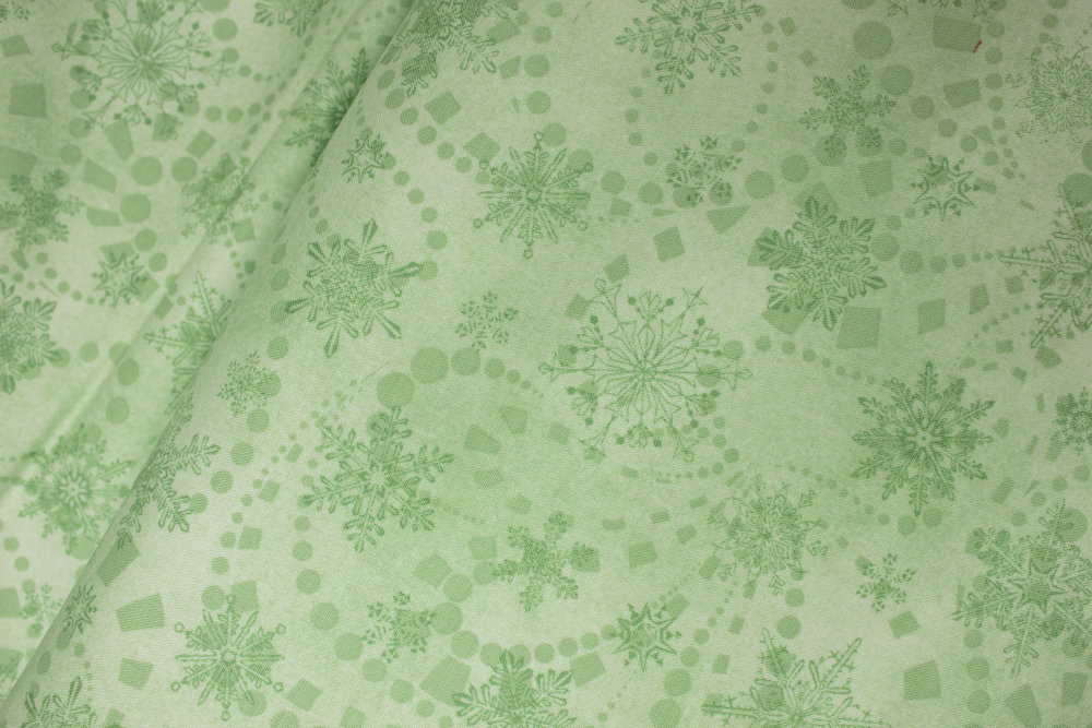 CAT-I-TUDE CHRISTMAS: Snowflake Spree in Mint - by Ann Lauer for Benartex