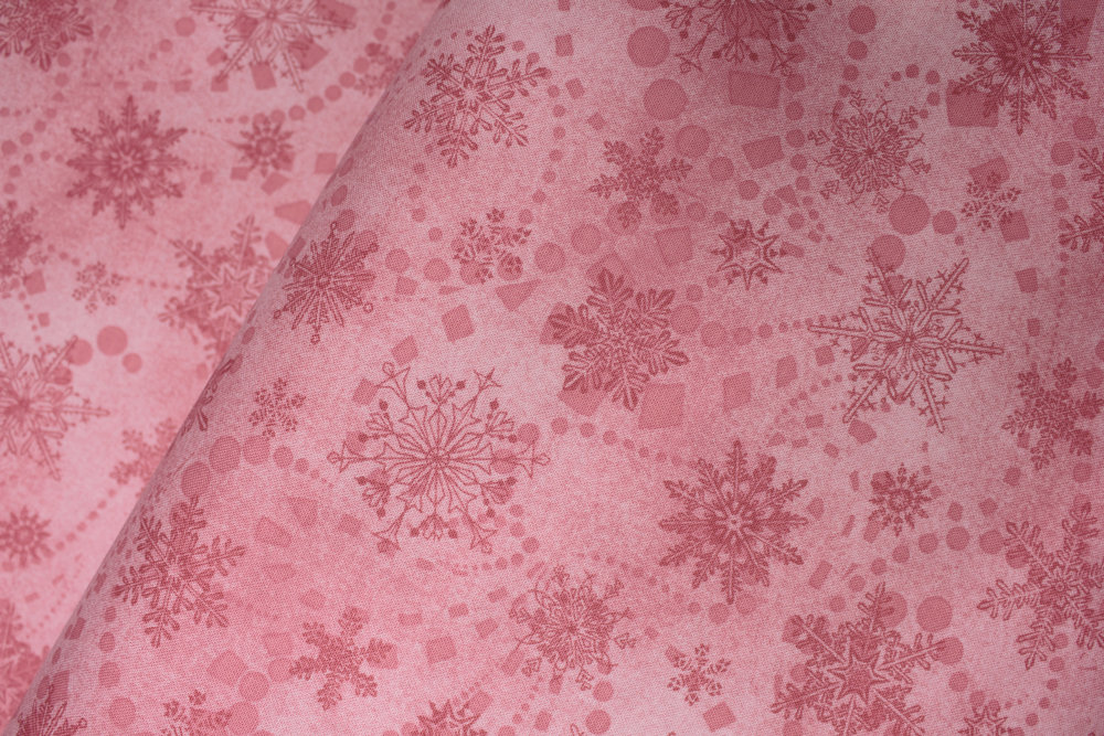 CAT-I-TUDE CHRISTMAS: Snowflake Spree in Rose - by Ann Lauer for Benartex