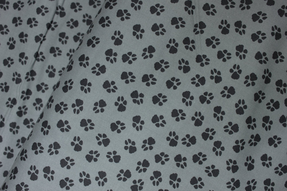 Dog-On-It: Black Paw Prints on Gray - by Ann Lauer for Benartex