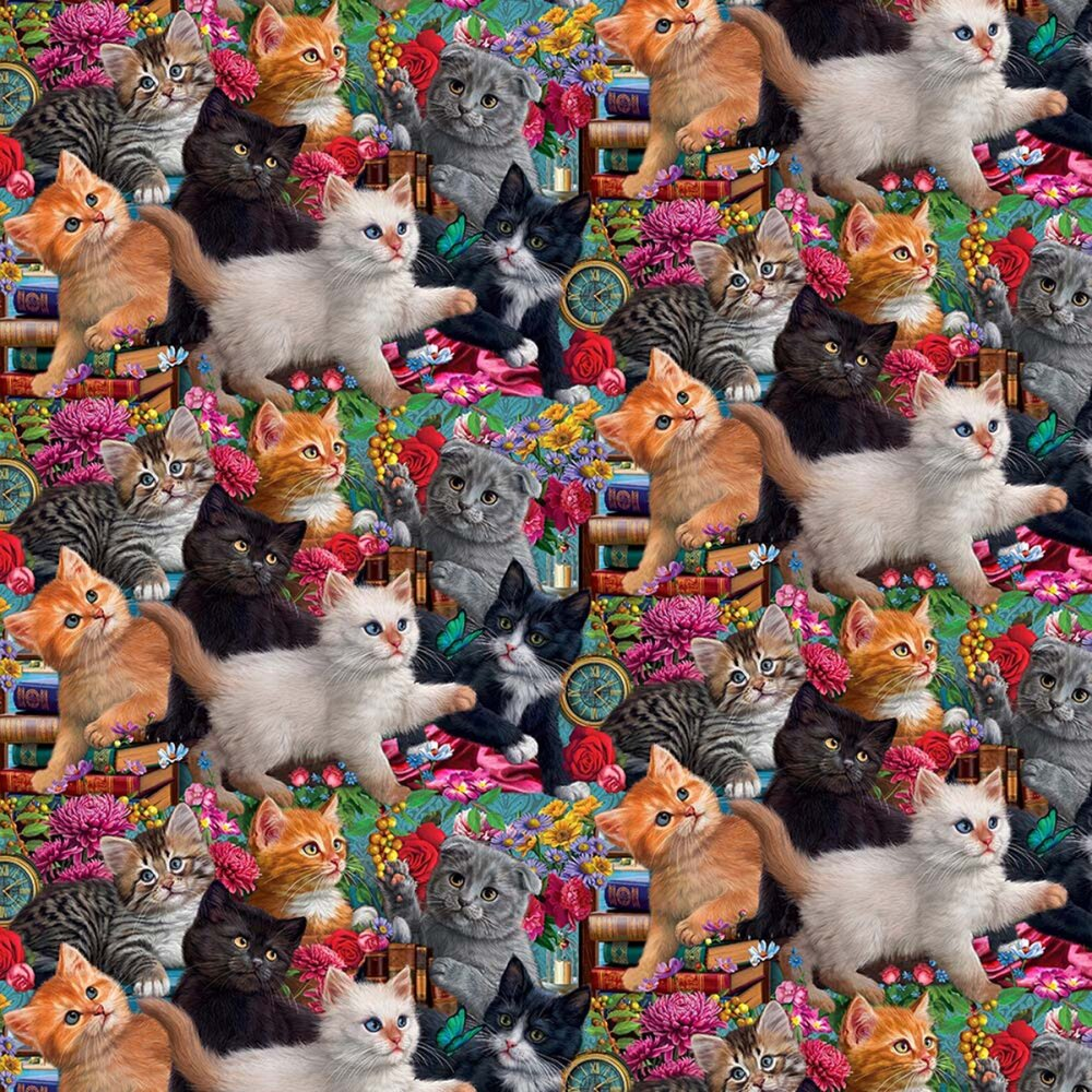 SPECIALTY FABRICS:  Madame Victoria's Packed Kittens:  Madame Victoria's Elegant Cats by Sykel Enterprises