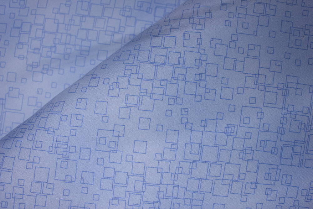 Tonal Squares on Light Blue: Cat-i-Tude 2 Purrfect Together by Ann Lauer for Benartex