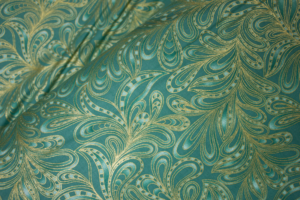 Featherly Paisley in Green: Cat-i-Tude 2 Purrfect Together by Ann Lauer for Benartex
