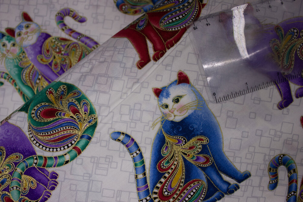 Playful Cats in Multi-Colors on White: Cat-i-Tude 2 Purrfect Together by Ann Lauer for Benartex