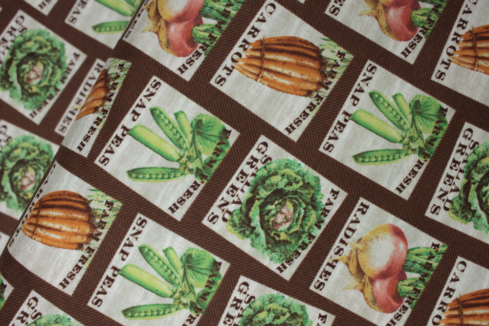 Food Signs on Brown : Marketplace by Sue Schlabach for Windham Fabrics