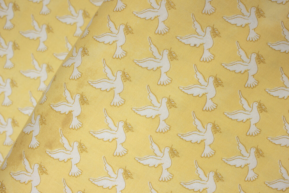 SPECIALTY FABRICS ROOM: White Doves on Yellow: Faith by Whistler Studios for Windham Fabrics