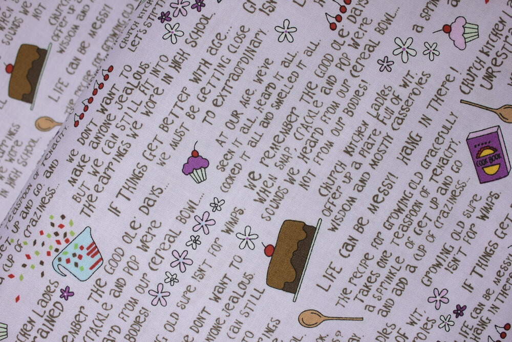 SPECIALTY FABRICS ROOM: Words on Lavender: Church Kitchen Ladies by Linda McDonald for Fabri-Quilt