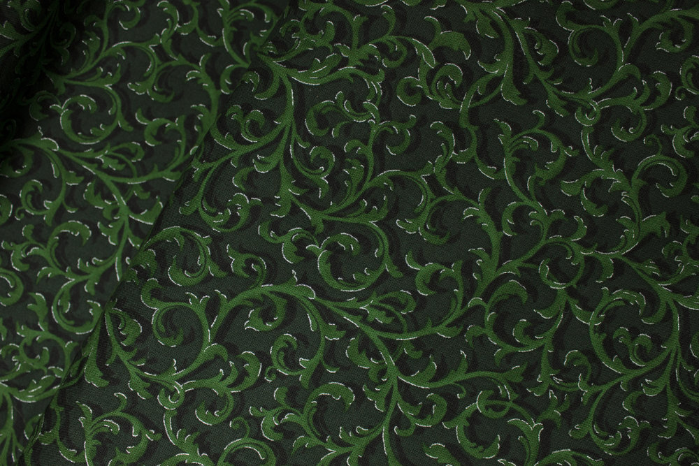 Green Feathery Vines with Metallic Accent: The Gallery by Choice Fabrics