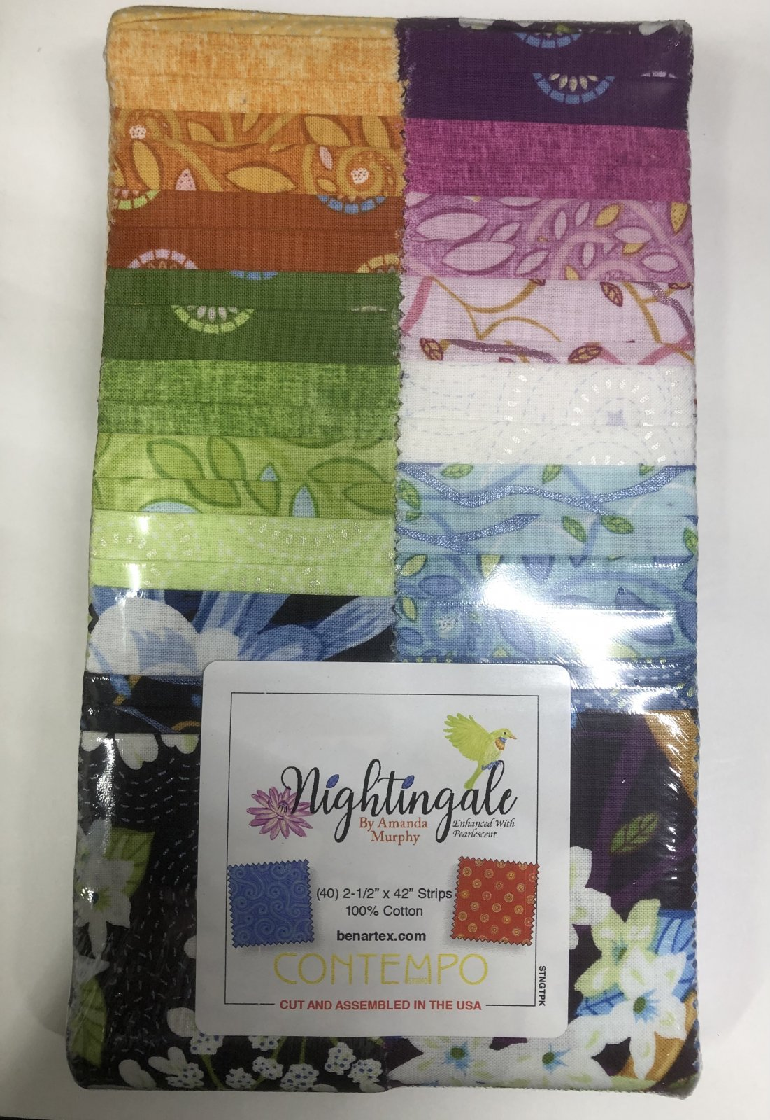 2.5 inch STRIPS:  Nightingale by Benartex - 40 piece 2.5 inch Fabric Strips Flat Pack