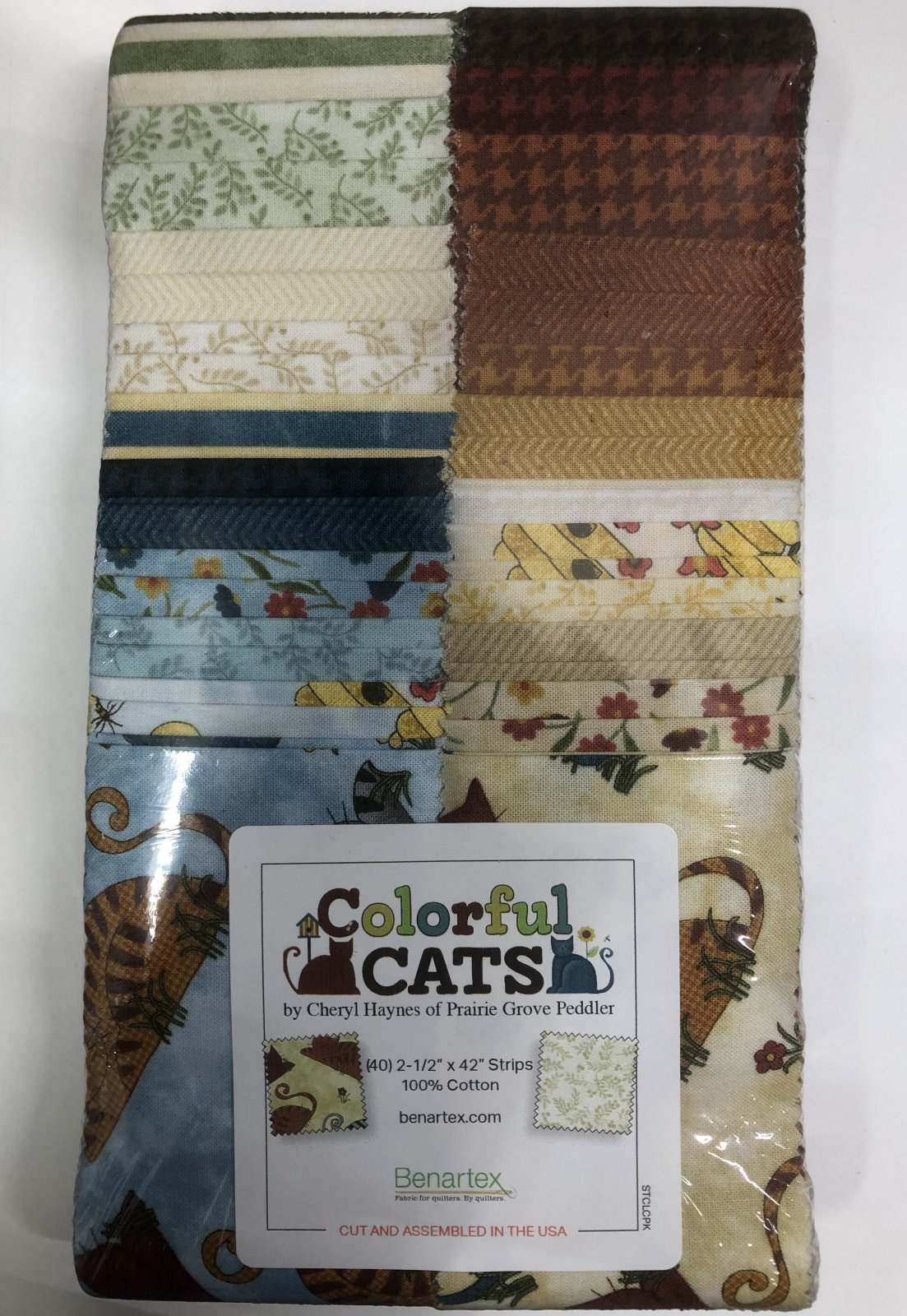 2.5 inch STRIPS:  Colorful Cats by Benartex - 40 piece 2.5 inch Fabric Strips Flat Pack