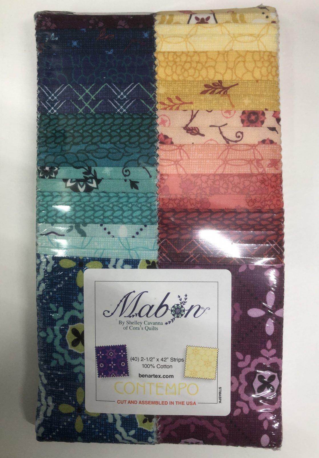 2.5 inch STRIPS:  Mabon by Benartex - 40 piece 2.5 inch Fabric Strips Flat Pack