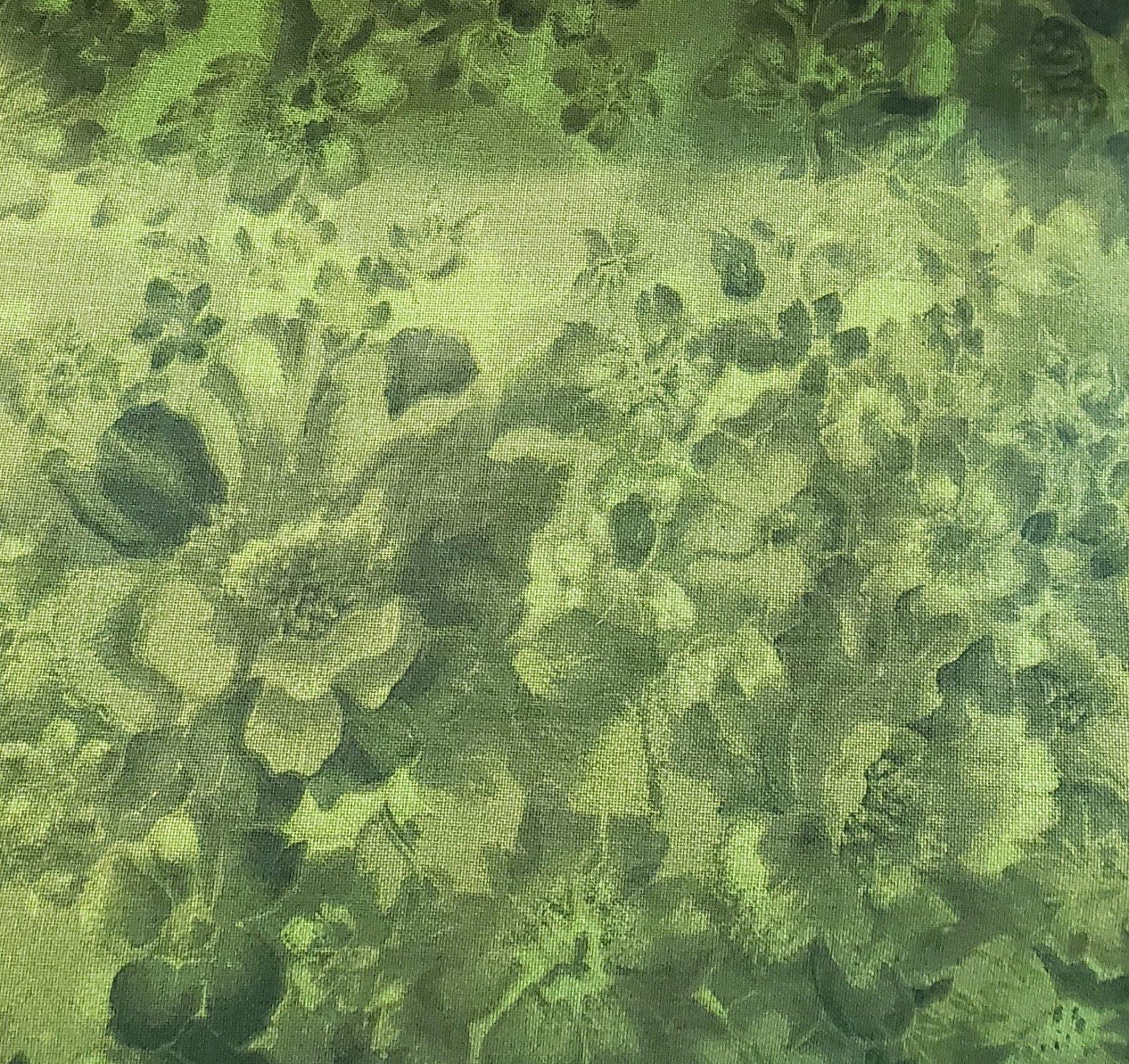 3 Yard Backing Piece: 108 Wide Avocado Faded Flowers in a single 3 yard piece