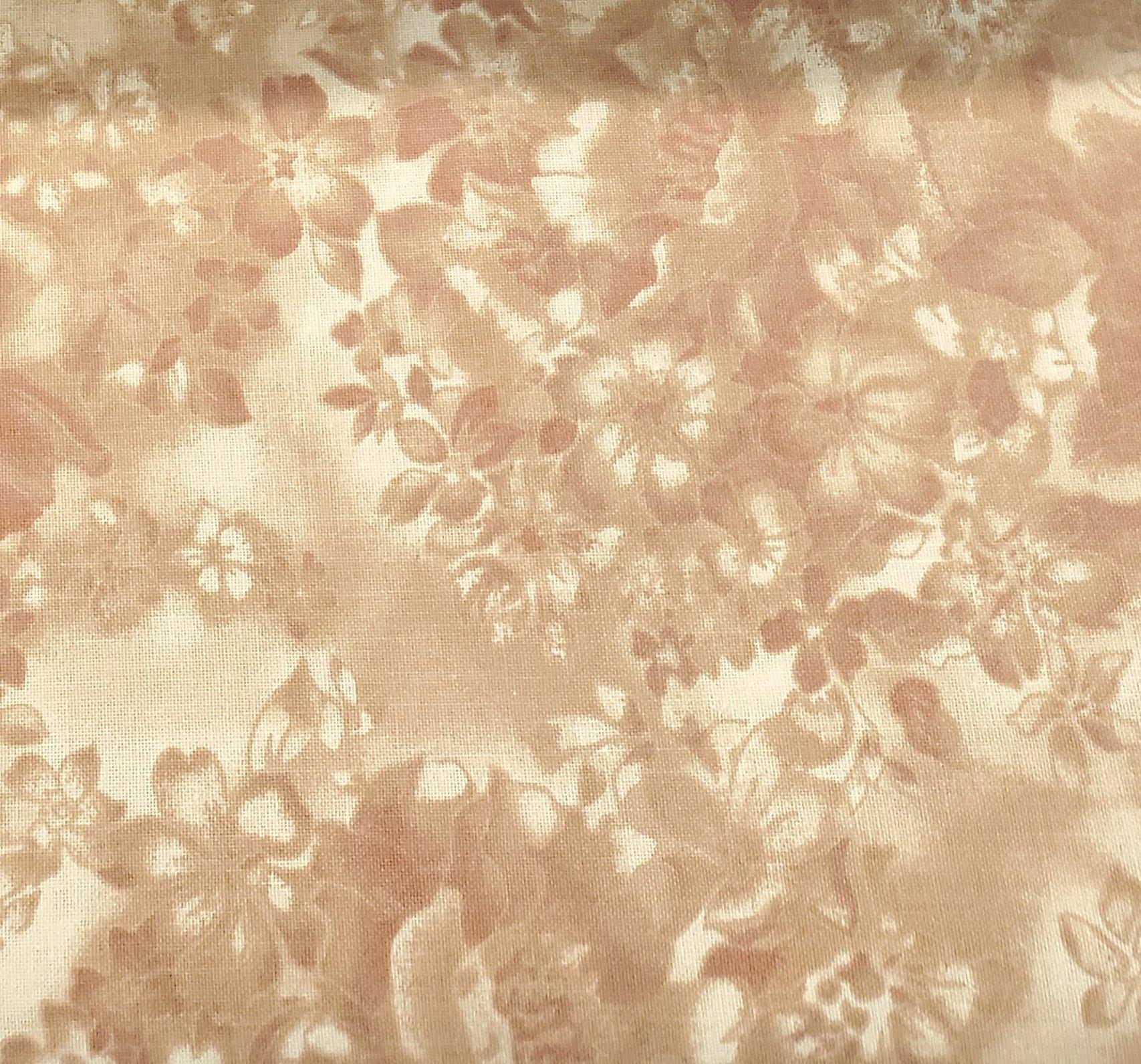 3 Yard Backing Piece: 108 Wide Rosy Camel Faded Flowers in a single 3 yard piece