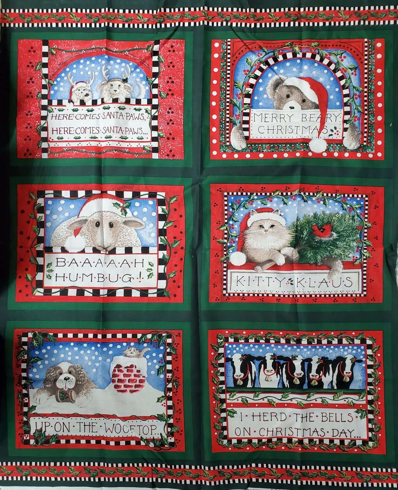 Baaah Humbug Pillow Panel designed by Linda Grayson for Concord Prints