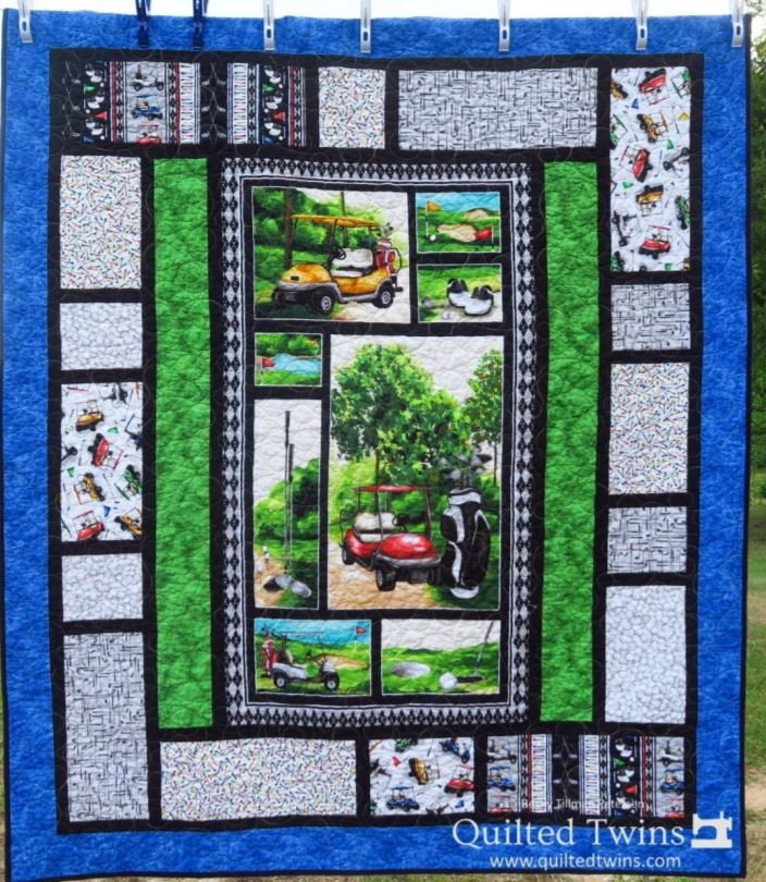 Back Nine Golfing Lap Quilt Kit - Panel, Pattern, Fabric for Top and Binding