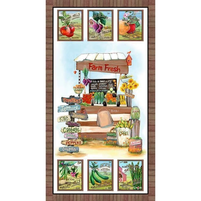 Blissful Bounty Veggie Stand Quilt Panel by Blank Quilting