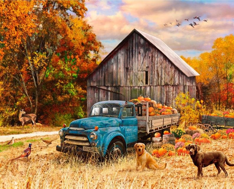 Blue Truck in Fall with Deer, Dogs and Pheasants by Four Seasons for David Textiles