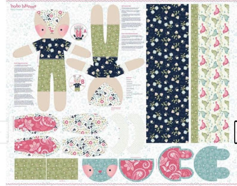 Boho Blooms Stuffed Bunny Panel by Studio E