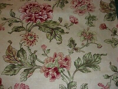 Pink and Green Flowers on Cream:  Cour de Fleur by Boundless