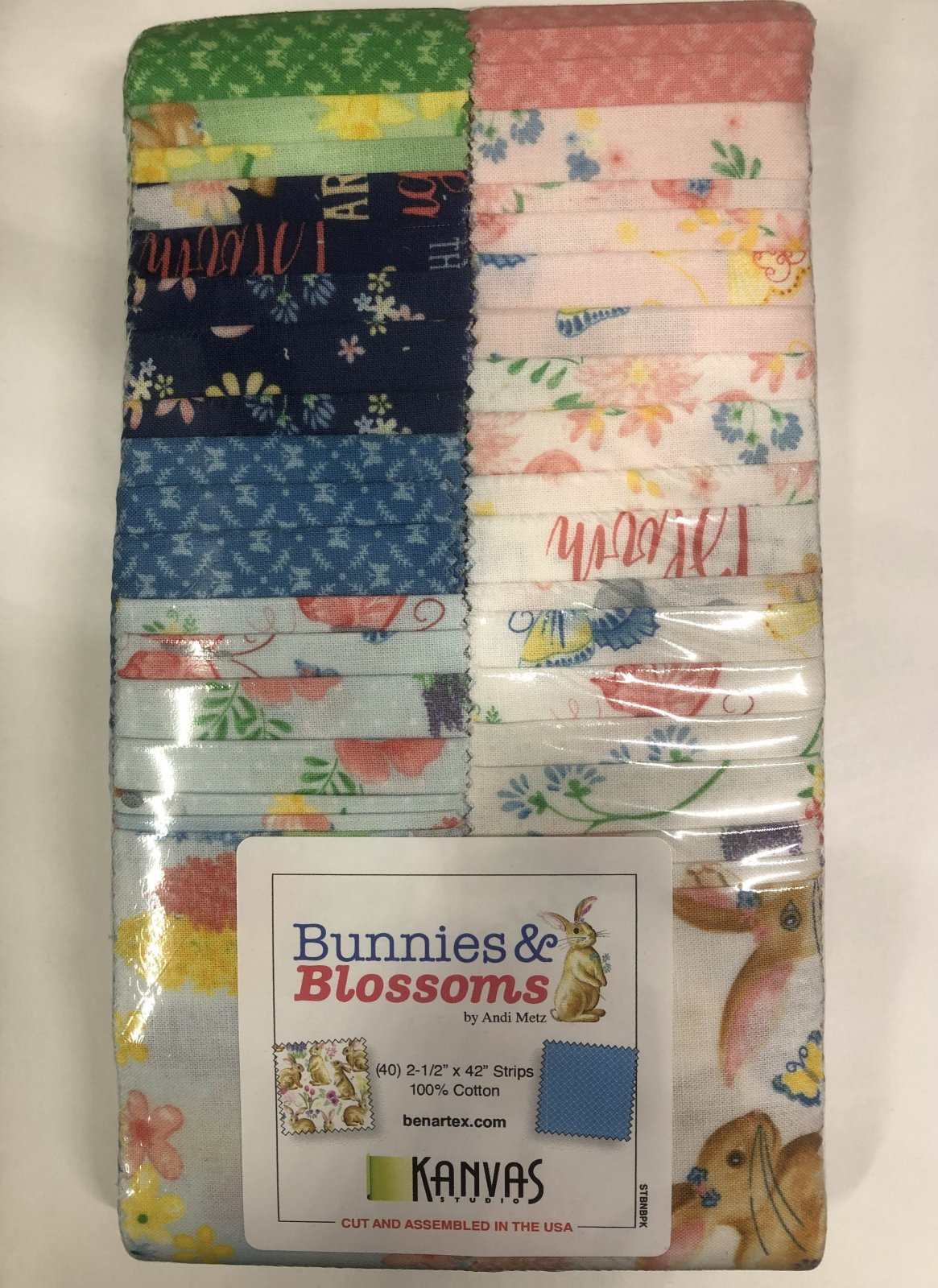 2.5 inch STRIPS:  Bunnies & Blossoms by Benartex - 40 piece 2.5 inch Fabric Strips Flat Pack