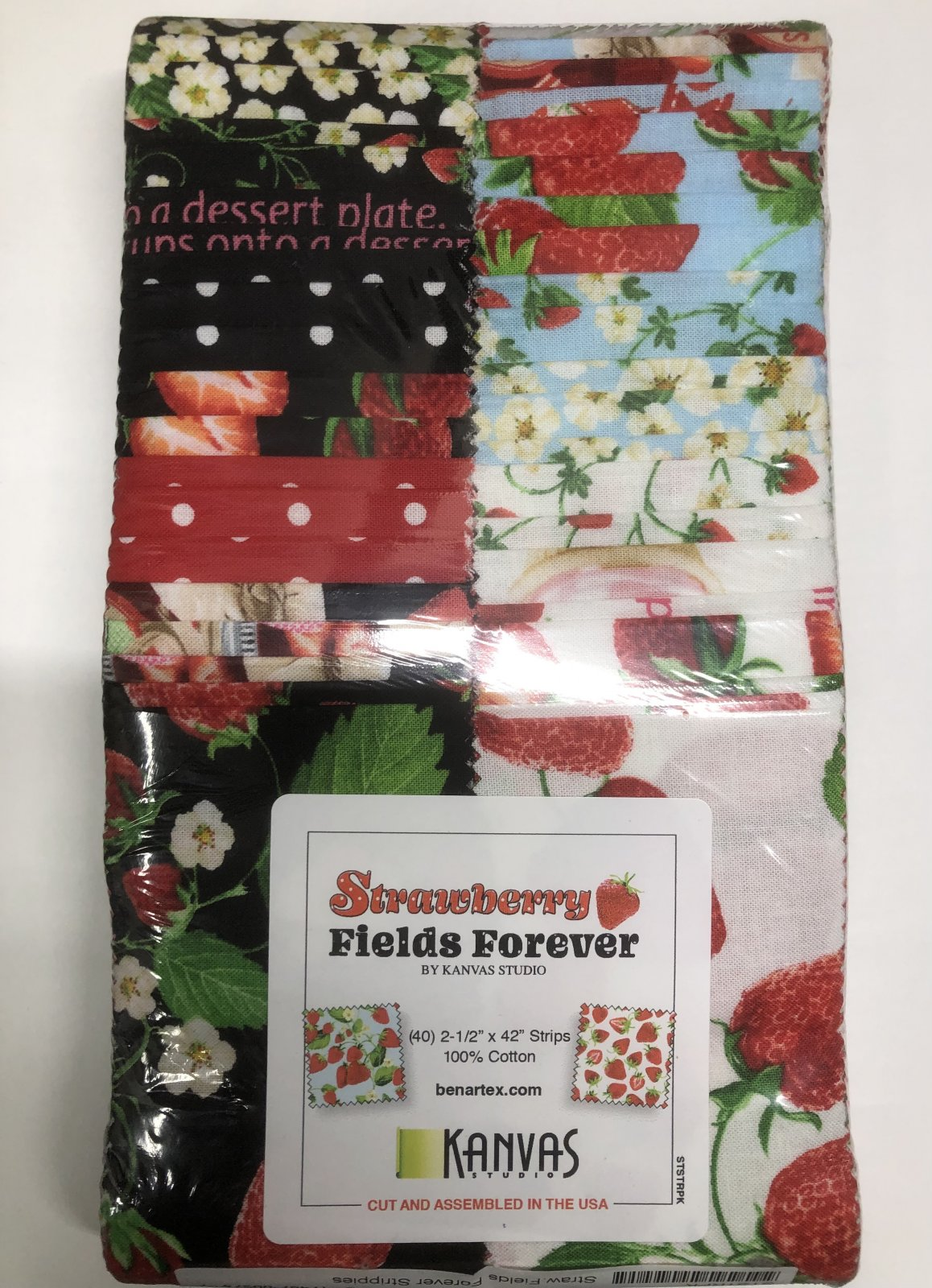 2.5 inch STRIPS:  Strawberry Fields Forever by Benartex - 40 piece 2.5 inch Fabric Strips Flat Pack