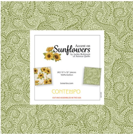 Accent on Sunflowers:  10 x 10 Squares - 42 piece Fabric Square Pack from Benartex