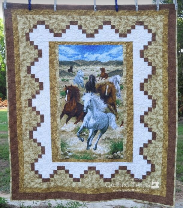 Showcased - Running Horses - Lap Quilt Kit - Panel, Pattern, Fabric for Top and Binding
