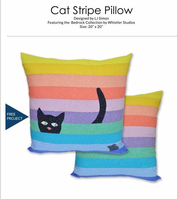 Cat Stripe Pillow - FREE Pattern by Windham Fabrics