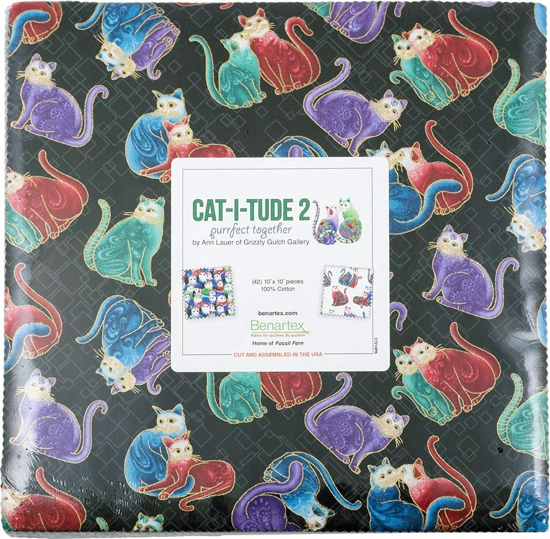 Catitude 2:  10 x 10 Squares - 42 piece Fabric Square Pack from Benartex