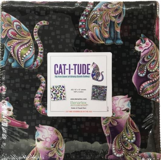 Cat-I-Tude:  10 x 10 Squares - 42 piece Fabric Square Pack from Benartex