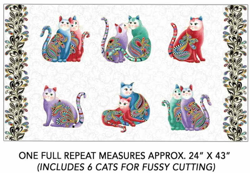 Catitude 2: Purrfect Together - Panel of 6 cats on white for Fussy Cutting by Ann Lauer for Benartex