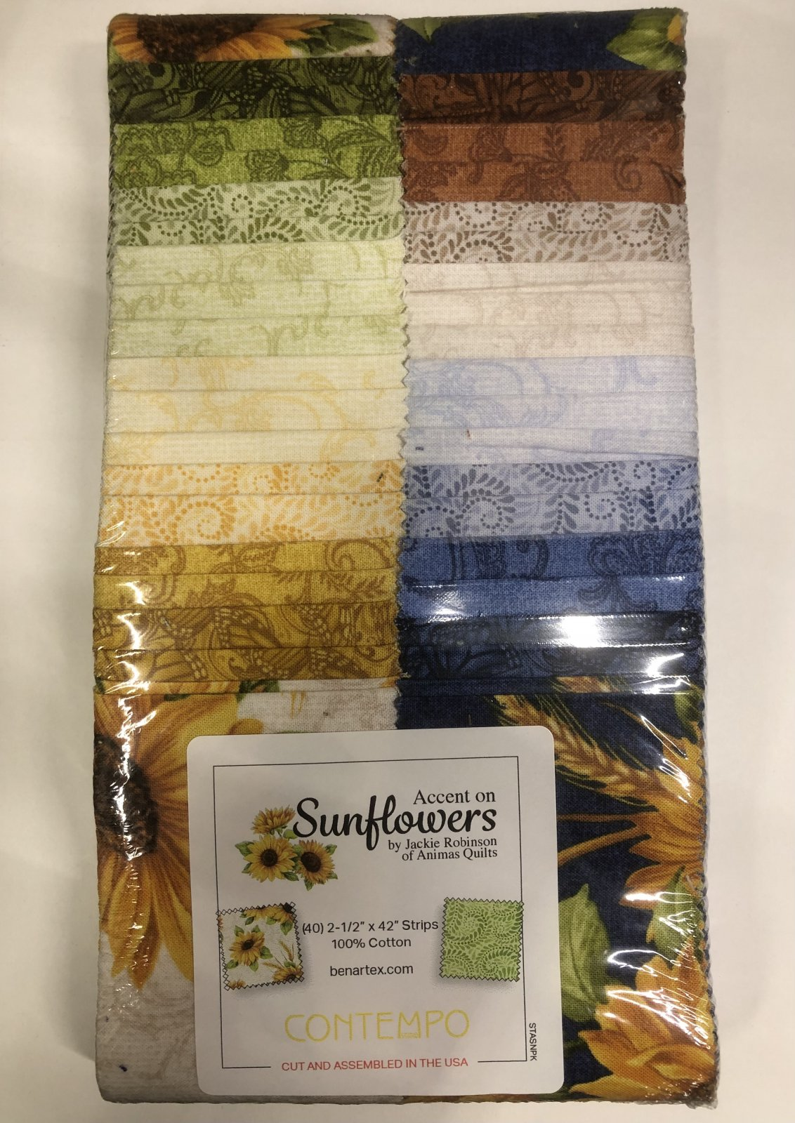 2.5 inch STRIPS:  Accent on Sunflowers by Benartex - 40 piece 2.5 inch Fabric Strips Flat Pack