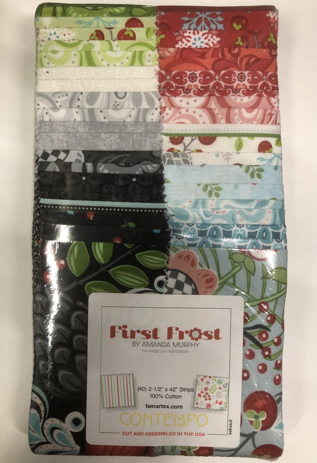 2.5 inch STRIPS:  First Frost by Benartex - 40 piece 2.5 inch Fabric Strips Flat Pack