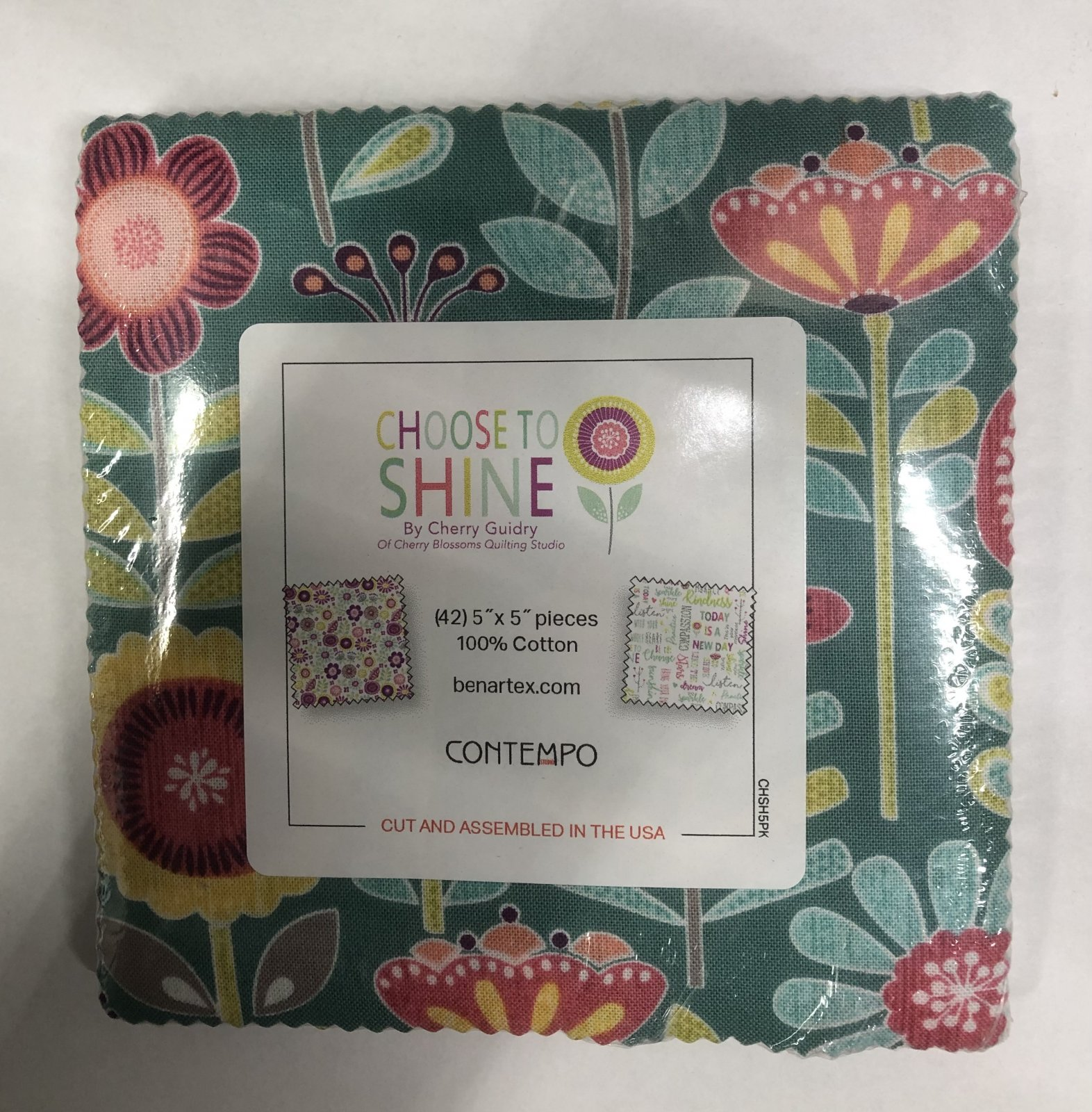 Choose to Shine:  5 x 5 Squares - 42 piece Fabric Square Pack from Benartex