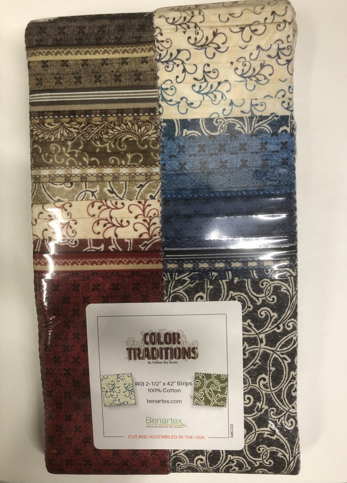 2.5 inch STRIPS:  Color Traditions by Benartex - 40 piece 2.5 inch Fabric Strips Flat Pack