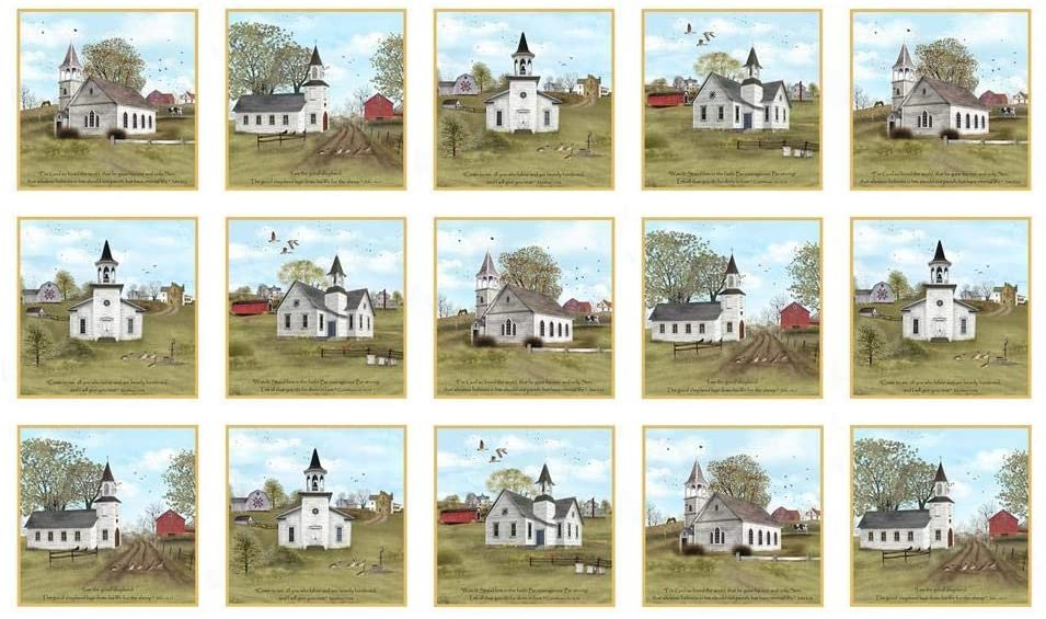 Amazing Grace Quilt Panel  - Churches in Blocks on Cream - by Elizabeth's Studios