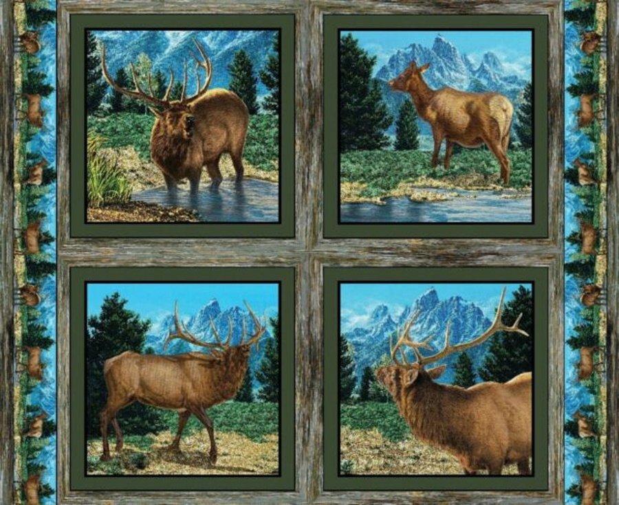 Elk Pillow Panel by Wild Wings