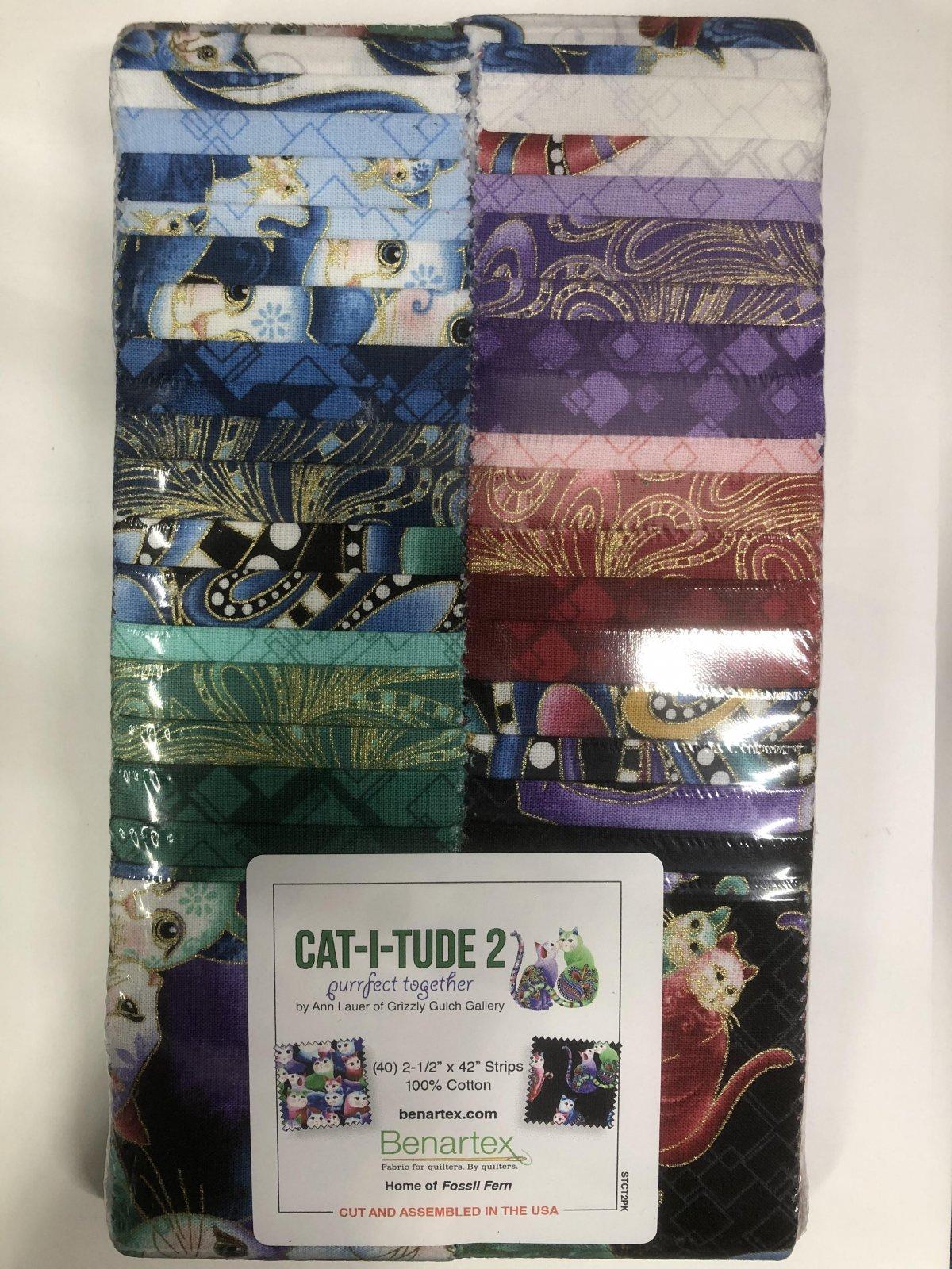 2.5 inch STRIPS:  Cat-i-tude 2 by Benartex - 40 piece 2.5 inch Fabric Strips Flat Pack
