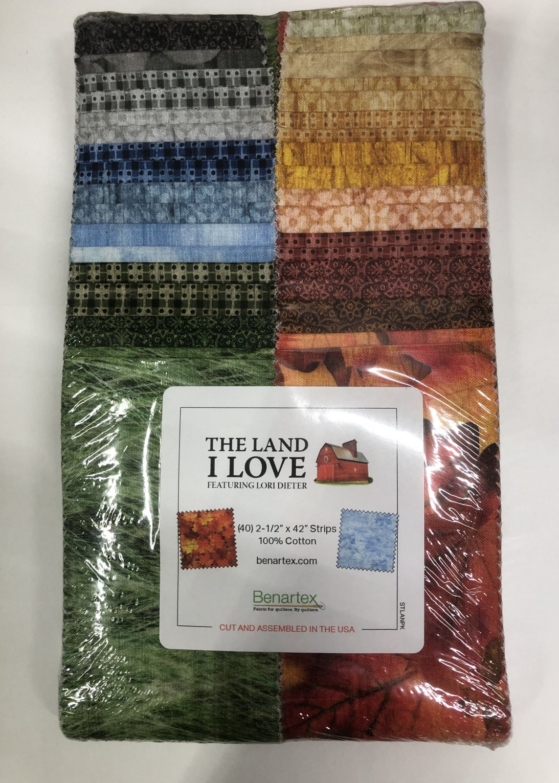 2.5 inch STRIPS:  The Land I Love by Benartex - 40 piece 2.5 inch Fabric Strips Flat Pack