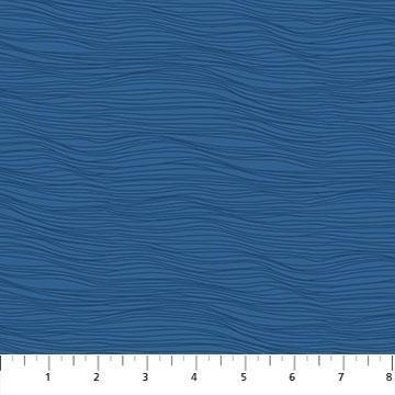Tonal Blue Wavy Lines:  Elements by Ghazal Razavi by FIGO Fabrics