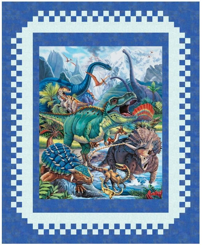 Checkered Fantasy: Dinotopia Lap Quilt Kit in Royal Blue - Panel, Pattern, Fabric for Top and Binding