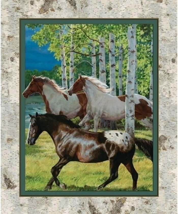 Appaloosa Horses Among Birch Trees Quilt Panel by Wild Wings for Springs Creative