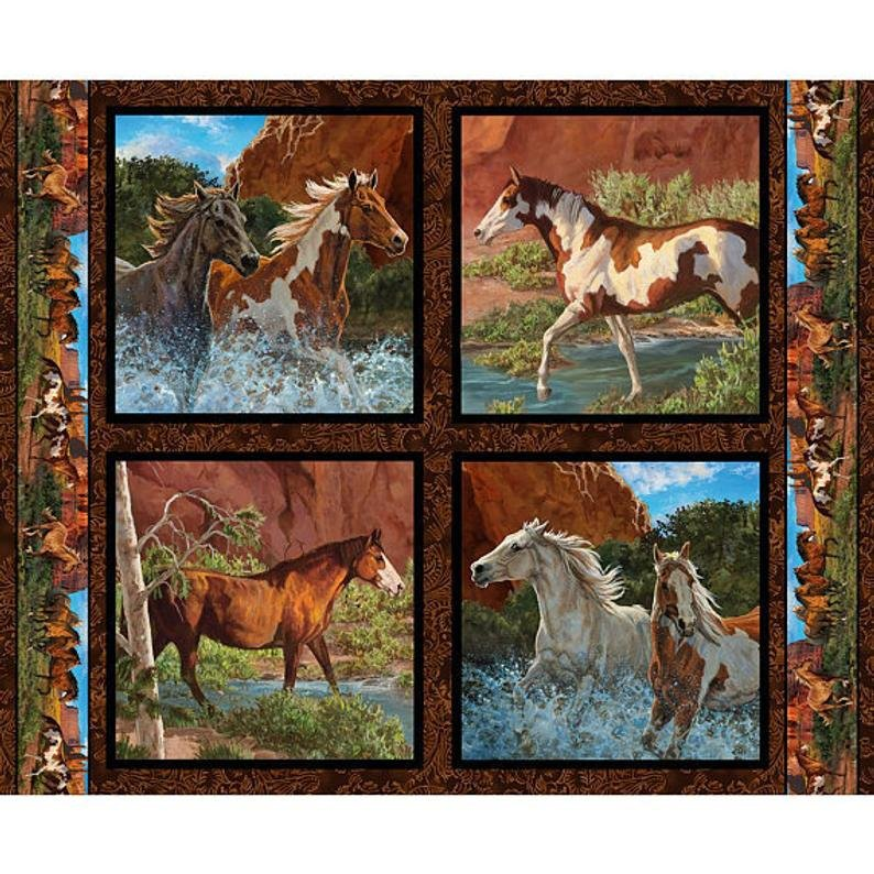 Horses at River's Edge Pillow Panel for Springs Creative