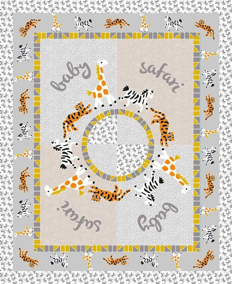 Mosaic Safari Quilt Panel Featuring African Animals for Springs Creative