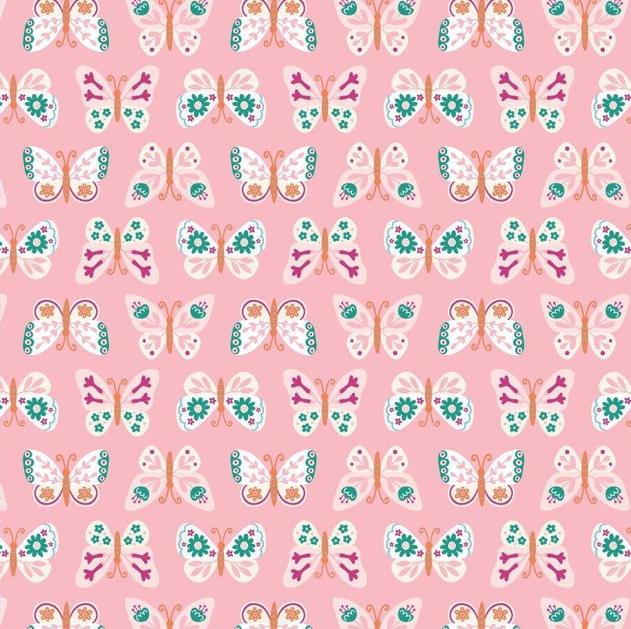 Butterflies on Pink:  Summer Garden by Mandy Porta for Felicity Fabrics