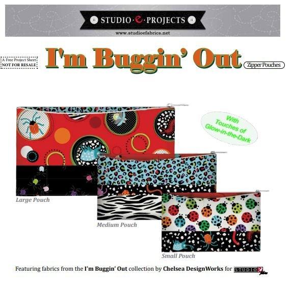 I'm Buggin' Out Zipper Pouches - FREE Pattern by Studioe