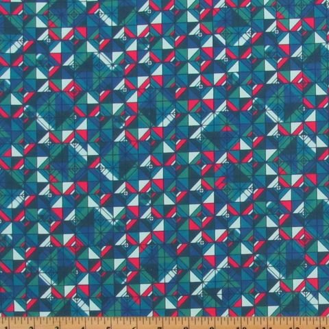 Geometric Squares in Blue, Teal, Green, and Hot Pink:  Rhapsody #6 - Emerald by Boundless