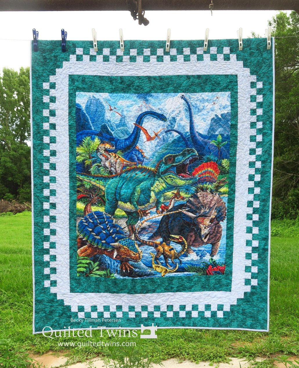 Checkered Fantasy: Dinotopia Lap Quilt Kit in TEAL - Panel, Pattern, Fabric for Top and Binding