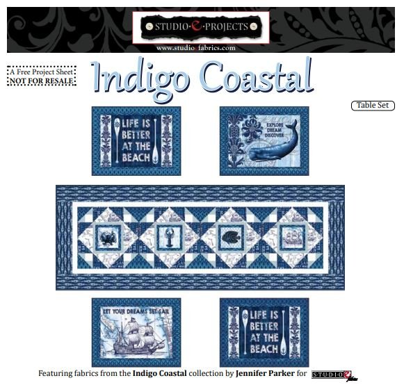 Indigo Coastal Table Setting - Placemats and Table Runner - FREE Pattern by Studioe