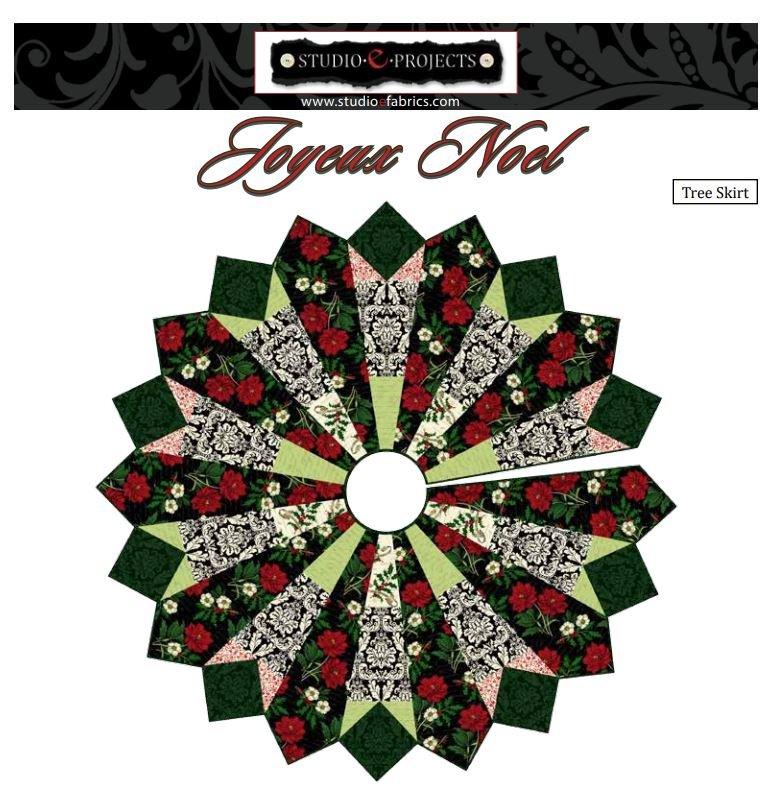 Joyeaux Noel Christmas Tree Skirt - FREE Pattern by Studioe